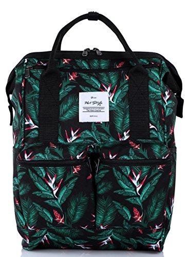 HotStyle DISA Tropisch Damen Rucksack mit Laptopfach 14 Zoll (44x27x17cm) D158B, Schwarz