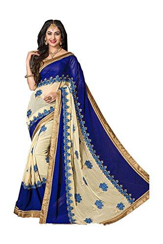 PCC Indian Women Designer Party wear Blue Saree Sari Fabz-2001