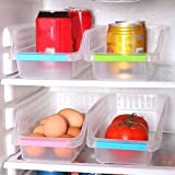 Quanjucheer scatola per frigorifero, freezer organizer portaoggetti da cucina cesto raccolta frutta organiser rack 30cm x 13.5cm x 8.5cm Random