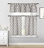 Home Maison Geometrische Küche Fenster Vorhang Set, grau, 58x 151Querbehang | 28x 362Ebenen