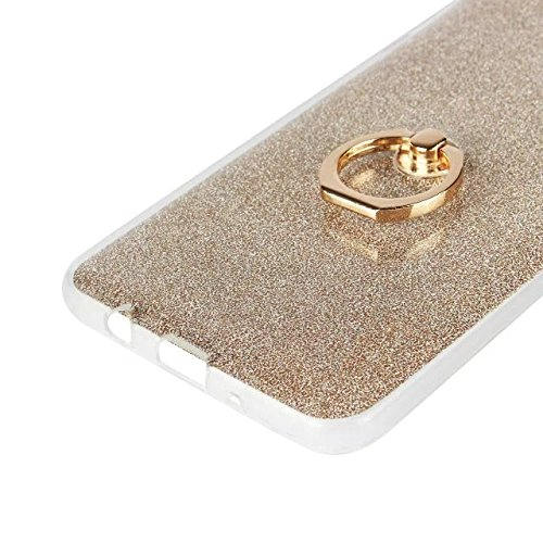 Luxus Bling Sparkle Style Case, Soft TPU [Silikon] Flexible Glitter Rückentasche mit Fingerring Stand [Anti Scratch] [Shockproof] für Samsung Galaxy J7 Prime ( Color : White ) White