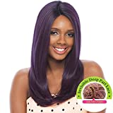 OLGA (Black Purple) - Janet Collection Synthetic Super Flow Deep Part Lace Front Wig by Janet Collection