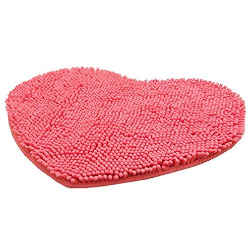 Rabatt Geflochtene Teppiche (Super weichen Chenille herzförmigen Schlafzimmer Teppich Tür Matte Teppich rosa)