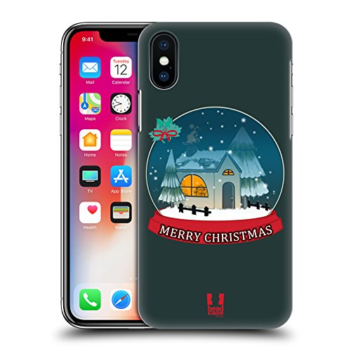 Head Case Designs Albero Mix Collezione Di Natale Cover Retro Rigida per Apple iPhone X Globo Di Neve