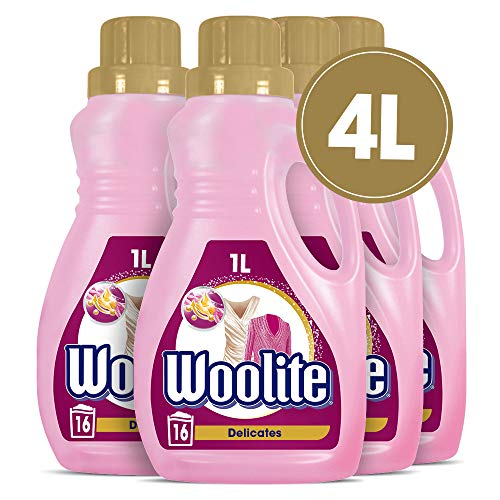 Woolite Wolle & Feines - Pflegendes Feinwaschmittel für Maschinen- & Handwäsche - Für 64 Waschladungen - 4er Pack (4 x 1l)