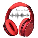 Wireless And Bluetooth Headphones, Stero Sound And Foldable Design And Noise Cancelling,Supports Wired Mode for PC/Cell Phones/TV(Red Color)
