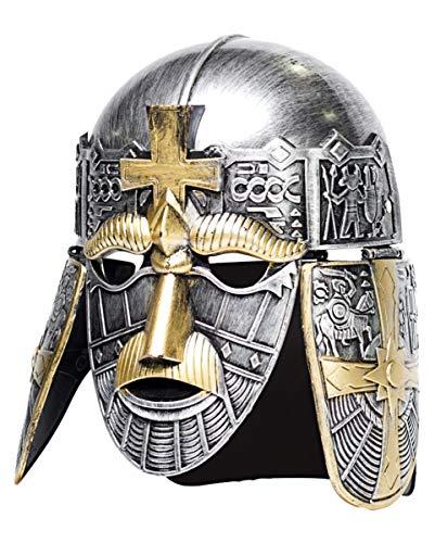 Horror-Shop Silberner Kreuzritter Helm als mittelalterliches Kostüm ()