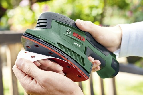 Bosch DIY Akku-Multischleifer PSM 10,8 LI , Akku, Ladegerät, Schleifblätter, Adapter für Staubsauger, Karton (10,8 V, 1,5 Ah, Schwingzahl 22.000 min-1)