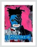 Alison Black Basquiat Poster Kunstdruck Siebdruck Bild im Alu Rahmen in silber matt 90x70cm