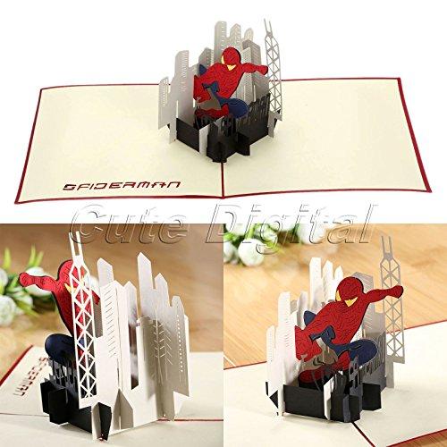 acmebuy (TM) creative Handmade 3d pop up biglietto di auguri compleanno Cartoon Spiderman American Hero carta, Natale, Halloween