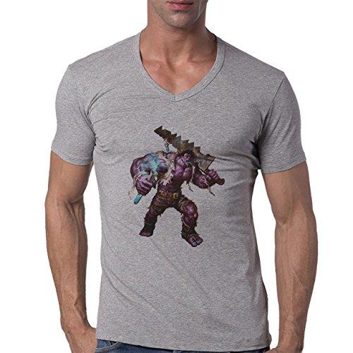 League Of Legends Angry Mundo Herren V-Neck T-Shirt Grau