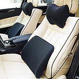 TLMYDD Cuscino Lombare Cuscino Supporto Auto in Vita Set Negativo Memoria ioni Cotone Universale per Il seggiolino Auto Principale Cuscino Lombare (Color : Black, Size : 22 * 23cm+37 * 37cm)