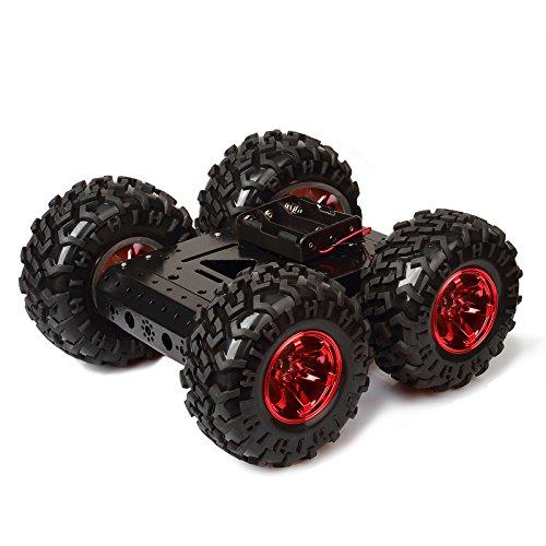 town sister Verfolgte Roboter Intelligente Auto Plattform Aluminiumlegierungs Fahrgestelle mit Gummi-Reifen Doppel DC 12V Motor für Arduino Raspberry Pi DIY (Rot) -