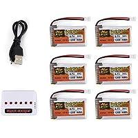 6pcs ZOP Poder 3.7V 1200mAh 30C Lipo 1S batería Recargable con 6 en 1 Cargador USB de la batería para RC Racing Car Drone