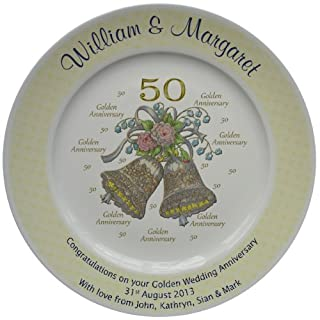 Personalised Golden Wedding Anniversary Plate with a Yellow Rim - Bells + 50 Design