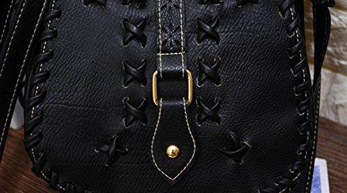 FZHLY Art Style Hollow Borse Di Spalla Tessuti A Mano Pacchetto Diagonale Femminile,Brown Khaki