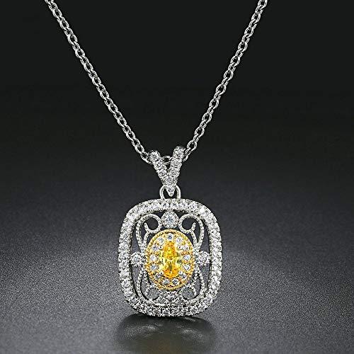 GMZTT Halskette High-end Temperament Halskette Anhänger Halskette Für Frauen Vintage Prinzessin Stil Gelb Zirkonia Zwei Farbe Überzug Geschenk Modeschmuck