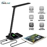 ELINKUME® Lampada da tavolo a LED con ricarica wireless Qi, 4 colori regolabili, dimmer tattile a 5 livelli, spegnimento timer, porta di ricarica USB, lampada da comodino pieghevole dimmerabile