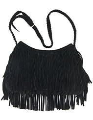 Borla de la franja THG Negro Hombro Mensajero Mujeres con estilo de la muchacha del bolso del bolso del bolso de hombro