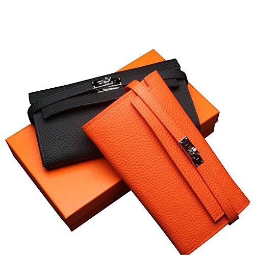 BAIGIO Portafoglio in Vera Pelle con Zipper Interno Portafoglio lungo da Donna Modello Elegante e Moderno Stile Casual e Business per Smartphone (Nero) Nero