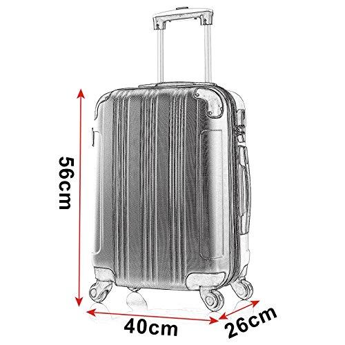 WOLTU RK4205ts Reise Koffer Trolley Hartschale mit erweiterbare Volumen , Reisekoffer Hartschalenkoffer 4 Rollen , M / L / XL / Set , leicht und günstig , Türkis (M, 56 cm & 42 Liter) - 6