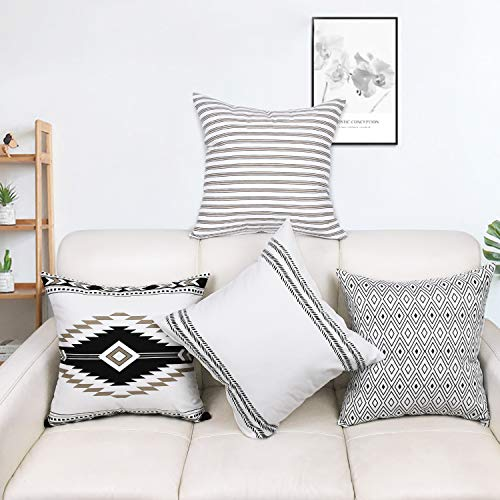 Yastouay 4er Set Kissenbezug Outdoor-Shell-Kissenhülle Zierkissenbezug Dekokissen Kissen Wurfkissen für Sofa Couch Zimmer Geometrisch Polyester 45 x 45 cm -