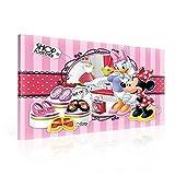 TapetoKids Leinwandbild Minnie Maus Daisy Duck SHOP TOGETHER - XXL - 100 x 75 cm - Komplettpaket! - fertig gerahmt und inklusive Aufhängung - hochwertige 230g/m² Leinwand auf Keilrahmen - kinderleichte Anbringung