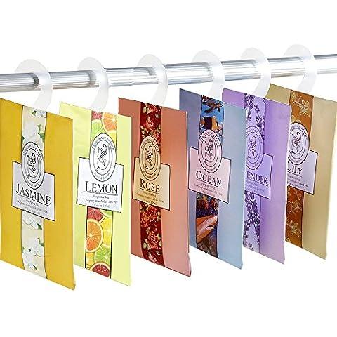 YUMSUM 6 PCS Vêtements frais Sachets parfumés parfumés Sacs Set avec suspension Convient pour les tiroirs et les armoires Salle d'armoire Salles de bains voitures