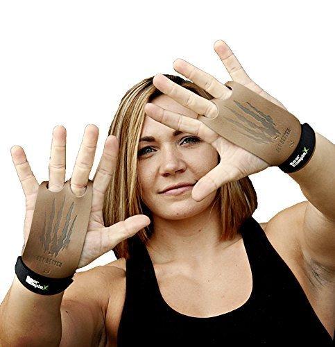 Bear KompleX 2-Loch Leder Hand Grips für Gymnastik, Crossfit, Klimmzüge & Gewichtheben - Pull Up Grips für mehr Komfort & perfekten Halt - idealer Handschutz vor Rissen & Blasen - Damen & Herren