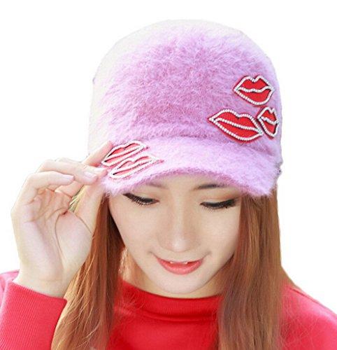 Smile YKK Casquette Hiver Femme Chapeau Visière Lèvre Imprimé Sport Chic Cuir Rouge