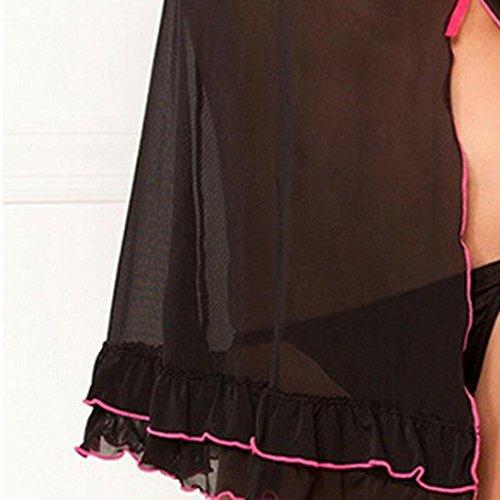 Familizo Biancheria intima di pizzo sexy signora modo del vestito dal profondo scollo a V + belt pigiama richiamo Nero