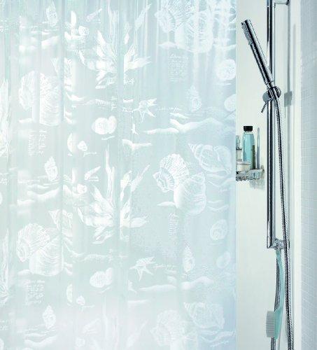 Spirella Anti-Schimmel Duschvorhang Riff White Anti-Bakteriell, Waschbar, Wasserdicht Vinyl 180x200cm