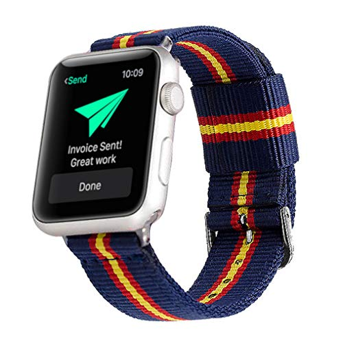 Estuyoya - Pulsera de Nylon Compatible con Apple Watch Colores Bandera de España, Ajustable Reemplazo Estilo Deportiva, Casual Elegante para 42mm 44mm Series 1/2 / 3/4, Nike+ Todos los Modelos