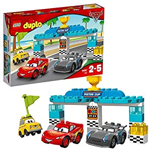 LEGO 10857 DUPLO Cars 3 Piston Cup Race Lightning McQueen, Jackson Storm and Luigi Buildable Disney Pixar Cars 3 Characters, Building Set, Toy for Kids Age 2-5
