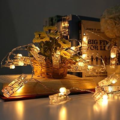 Gledto AA Battery Powered Clothespin Shapes Romantic Photos Clip LED String Light for Christmas Birthday Wedding Party Festival Decor