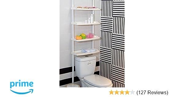 Keraiz 4 Tier Kitchen Bathroom Storage Shower Caddy Shelf Shelves Unit Adjustable Height No Screws Required, White