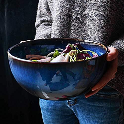 Ciotola per insalata di frutta ad alta capacità, in ceramica, per zuppe, zuppe, casa, 2400 ml, per gelato, snack, salse, zuppa, frutta, noodle Blue