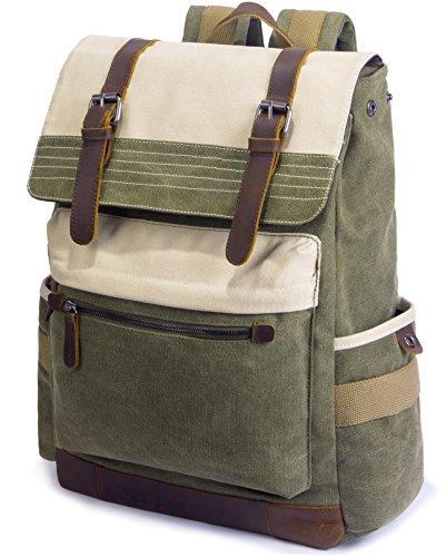 SUVOM Vintage Canvas Rucksack 15.6″ Laptop Backpack Genuine Leather Daypack  School Bag for Outdoor Travel 2315cdb4cd