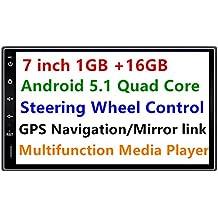 Panlelo® PA09, 7 Pulgadas 2 Din Head Unit Android 5.1 GPS Navegación Car Stereo Audio Radio 1080P Video Player ARMv7 Quad Core Incorporado Wi-Fi Bluetooth AM/FM/RDS Steering Wheel Control