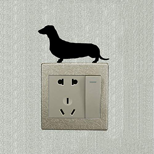 Dackel Hund Schalter Aufkleber Dekoration Tier Cartoon Wand