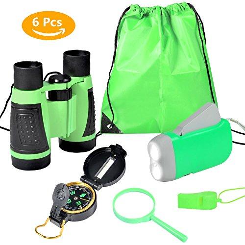 VGEBY 6pcs Kit Adventure–Fernglas, Taschenlampe mit Handkurbel, Kompass, Lupe, Pfeife und...