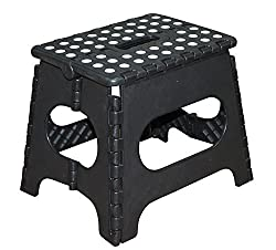 Jeronic 11 Inches Super Strong Folding Step Stool for Adults and Kids Black Kitchen Stepping Stools Garden Step Stool holds up to 300 LBS