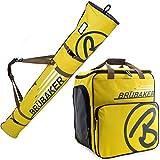 BRUBAKER Kombi Set CHAMPION - Limited Edition - Skisack und Skischuhtasche für 1 Paar Ski bis 170 cm + Stöcke + Schuhe + Helm Gelb Sand