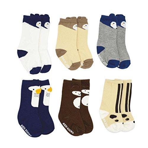 Shorven Shorven 6 Packs Newborn Baby Toddler Over the Calf Non Skid Socks with Grips Set 1 S