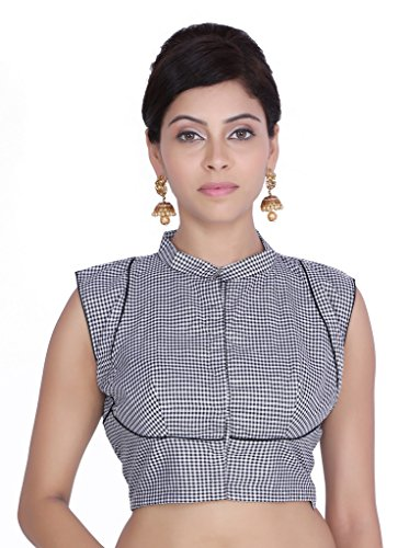 Jaipur Kala Kendra Donna Nero Controllare Stampa cucito nuziale saree Camicetta Top jkkcbl16