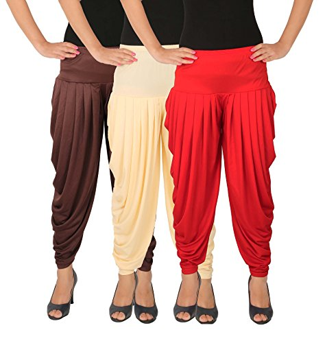 Dhoti Pants Women - Culture the Dignity Women\'s Lycra Side Plated Dhoti Patiala Salwar Harem Pants Combo - C_SP_DH_B2CR - Brown - Cream - Red - Pack of 3
