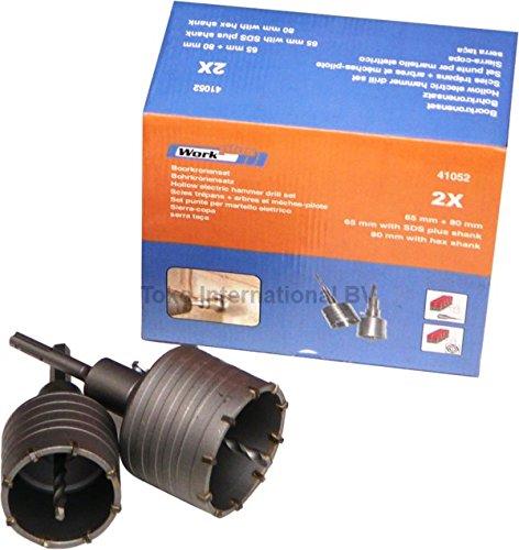 6 in 1 Bohrkronen Set 65mm 80mm max. 68mm 82mm Dosenbohrer SDS Plus Sechskant