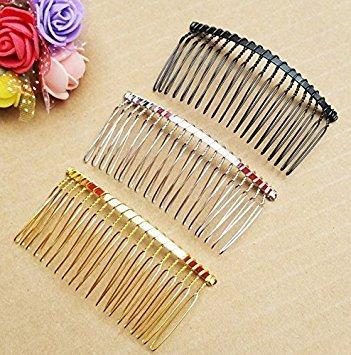 veewon 3x Brautschmuck Hochzeit Schleier Kämme DIY Metalldraht Haar Clip Kämme 7,8cm 20Zähne, multicolor (Haare Diy Kämmen)