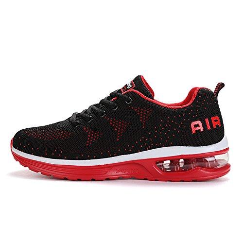JEDVOO Hombre Mujer Zapatillas de Deporte Zapatos Deportivos Aire Libre y Deportes Zapatillas de Running Gimnasia(A35Red45)