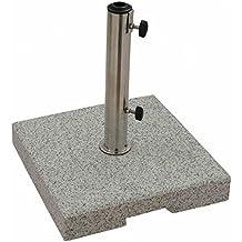 GoodSun Base de granito, gris, 25 kg, cuadrada